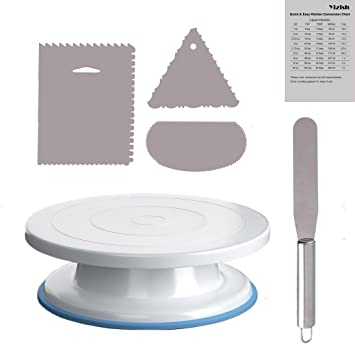 Kuchen Drehscheibe, Yizish 11 Zoll Rotierenden Tortenständer mit Edelstahl Icing Spachtel und Icing Glätteisen (3pcs) zum Bac