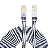 Aiposen Cat 7 Ethernet Cable:Nylon 33Feet (10M) CAT7 Shielded RJ45 Ethernet Patch Network Cable Professional Gold Plated Plug STP Wires Cat 7 Networking Cable Patch/ Modem/ Router/ LAN Black & White