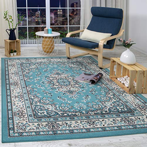 Antep Rugs Kashan King Collection Himalayas Oriental Polypropylene Indoor Area Rug (Blue/Cream, 8' x 10')