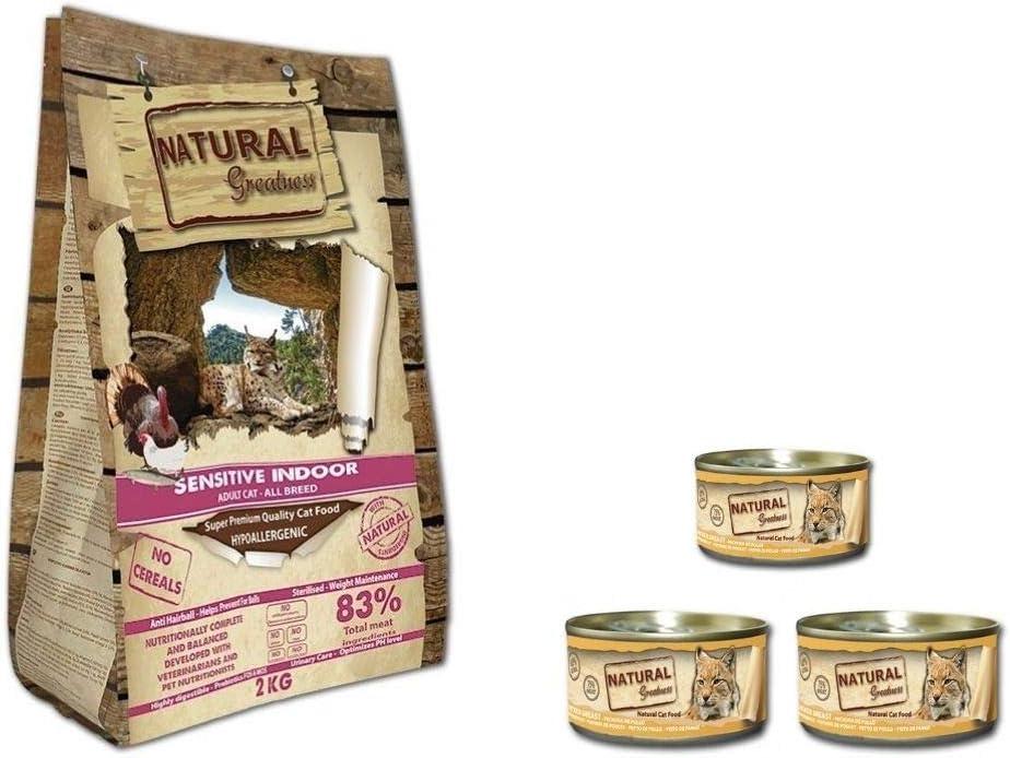 Natural Greatness Pienso Gatos Esterilizados, Senior o de Interior Sin Cereales Hipoalergénico Saco 2 kg Incluye 3 Latas Comida Húmeda   ANIMALUJOS (Saco 2 KG + 3 LATAS)