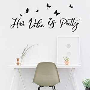 Inspirational Sayings Stickers Motivational Quotes Wall Sticker Her Vibe is Pretty Positive Words Vinyl Wall Art Decor for Women Teen Girls Female for Office Bedroom Home Apartment Dorm Decoration