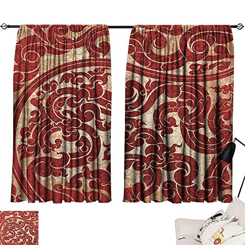 (Antique Exclusive Home CurtainsThai Culture Vector Abstract Background Flower Pattern Wallpaper Design Artwork Print Darkening and Thermal Insulating 55