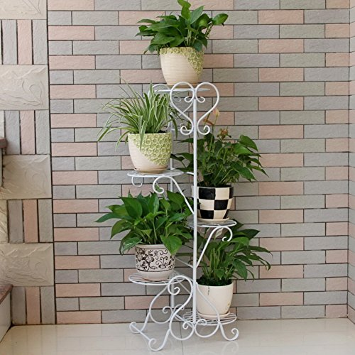 KELE European-Style Iron Plant Stand, Creative Multi-Layer Garden Tiered Flower Rack 5 Tier Iron Flower Pot Stands-A