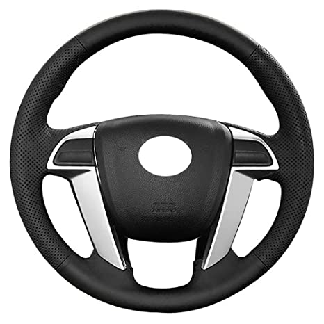 Amazon Com Eiseng Diy Genuine Leather Steering Wheel Cover Wraps