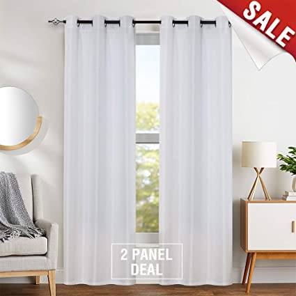 jinchan Textured White Curtains for Living Room Curtain Panels Contemporary  Grommet Jacquard Window Treatment Set for Bedroom 1 Pair 84\
