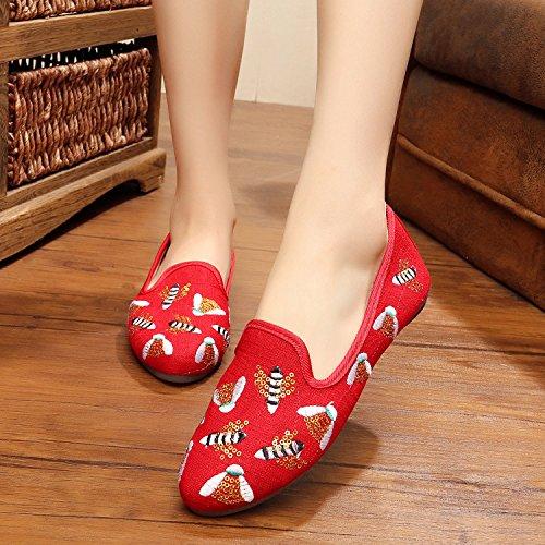 WXT Zapatos bordados abeja, lenguado del tendón, estilo étnico, femaleshoes, manera, cómodo Red