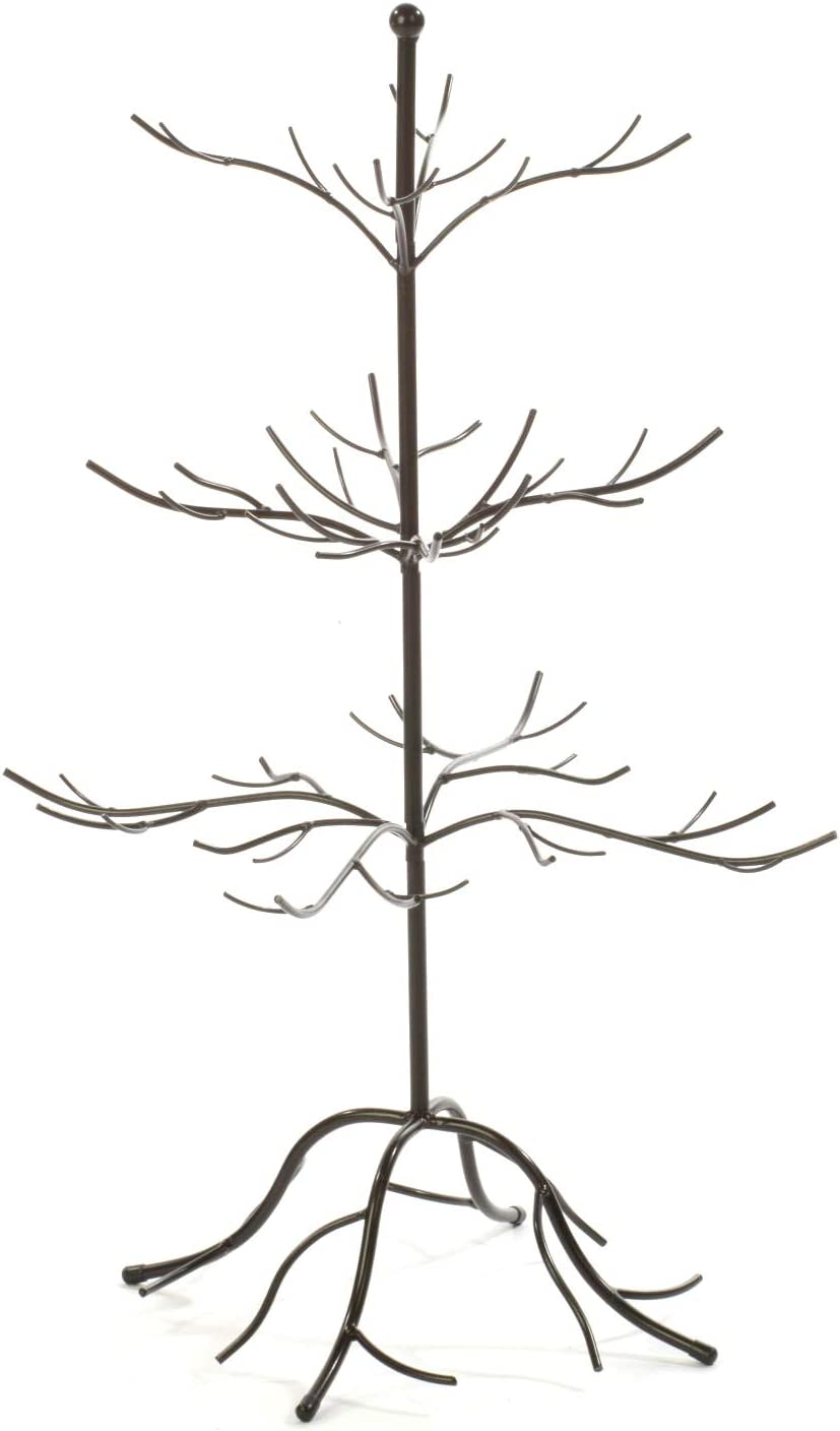 Small Metal Bare Tree Silhouette, Rustic Ornament Display, 3-tier Branches, 27-inch