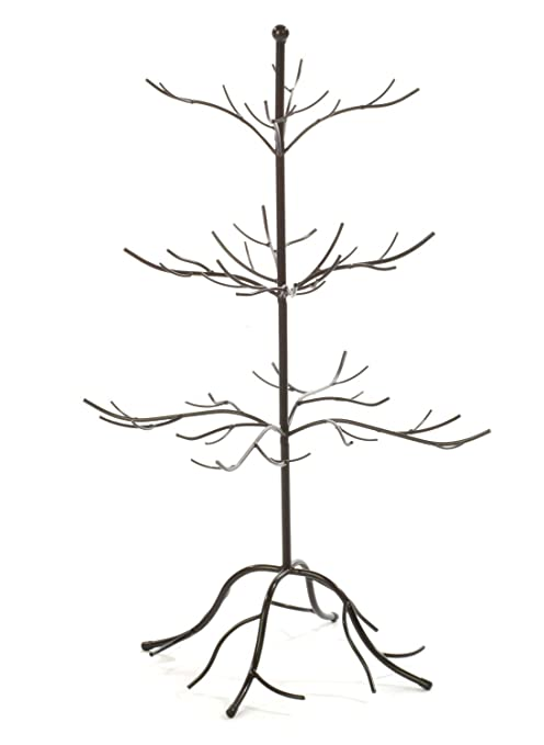 Metal Christmas Tree.Small Metal Bare Tree Silhouette Rustic Ornament Display 3 Tier Branches 27 Inch