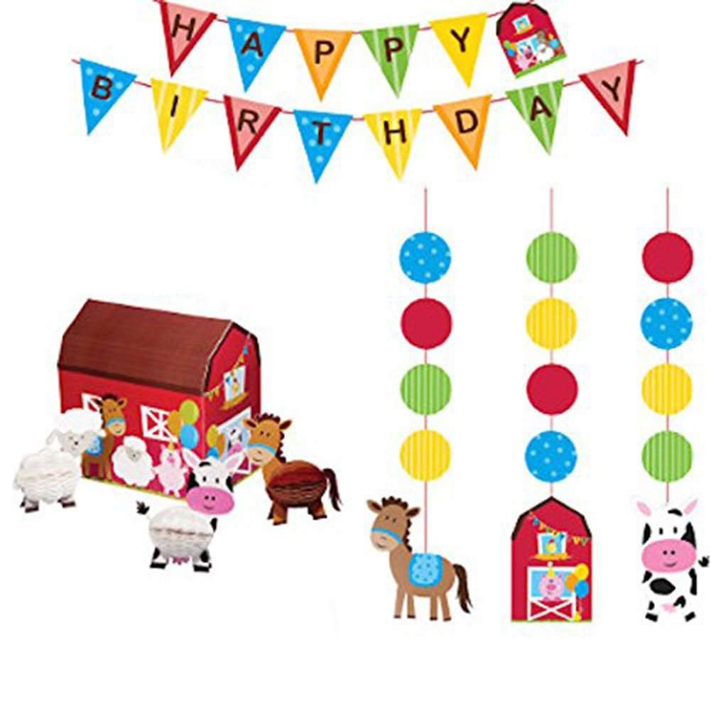 Farmhouse Fun Party Supplies Decorations Supply Pack - Hanging Cutouts, Banner, and Centerpiece by Cedar Crate Market