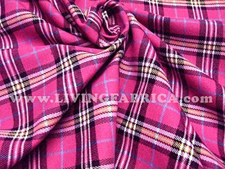 Pink Plaid Cotton Fabric