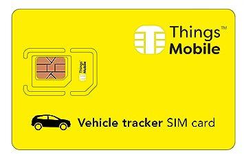Tarjeta SIM para LOCALIZADOR / TRACKER GPS de COCHES - Things Mobile - con cobertura global y red multioperador GSM/2G/3G/4G, sin costes fijos y con ...