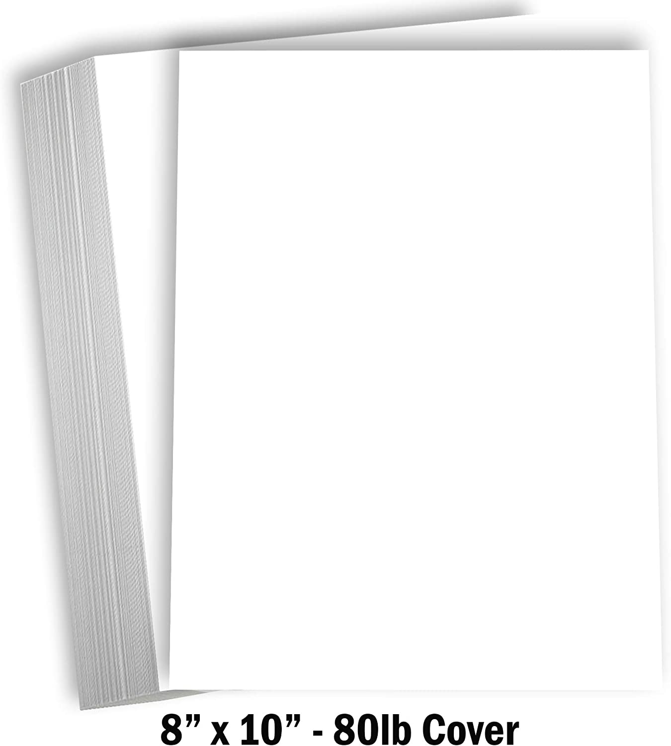 "Hamilco White Cardstock Thick Paper - 8 x 10"" Blank Heavy Weight 80 lb Cover Card Stock - 50 Pack"