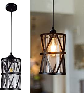 DLLT Industrial Pendant Light, Metal Hanging Ceiling Lights Fixture with Clear Glass Shade, Flush-Mount Swag Lighting for Kitchen/Dining Room/Hallway/Bedroom, E26 Base (Black)