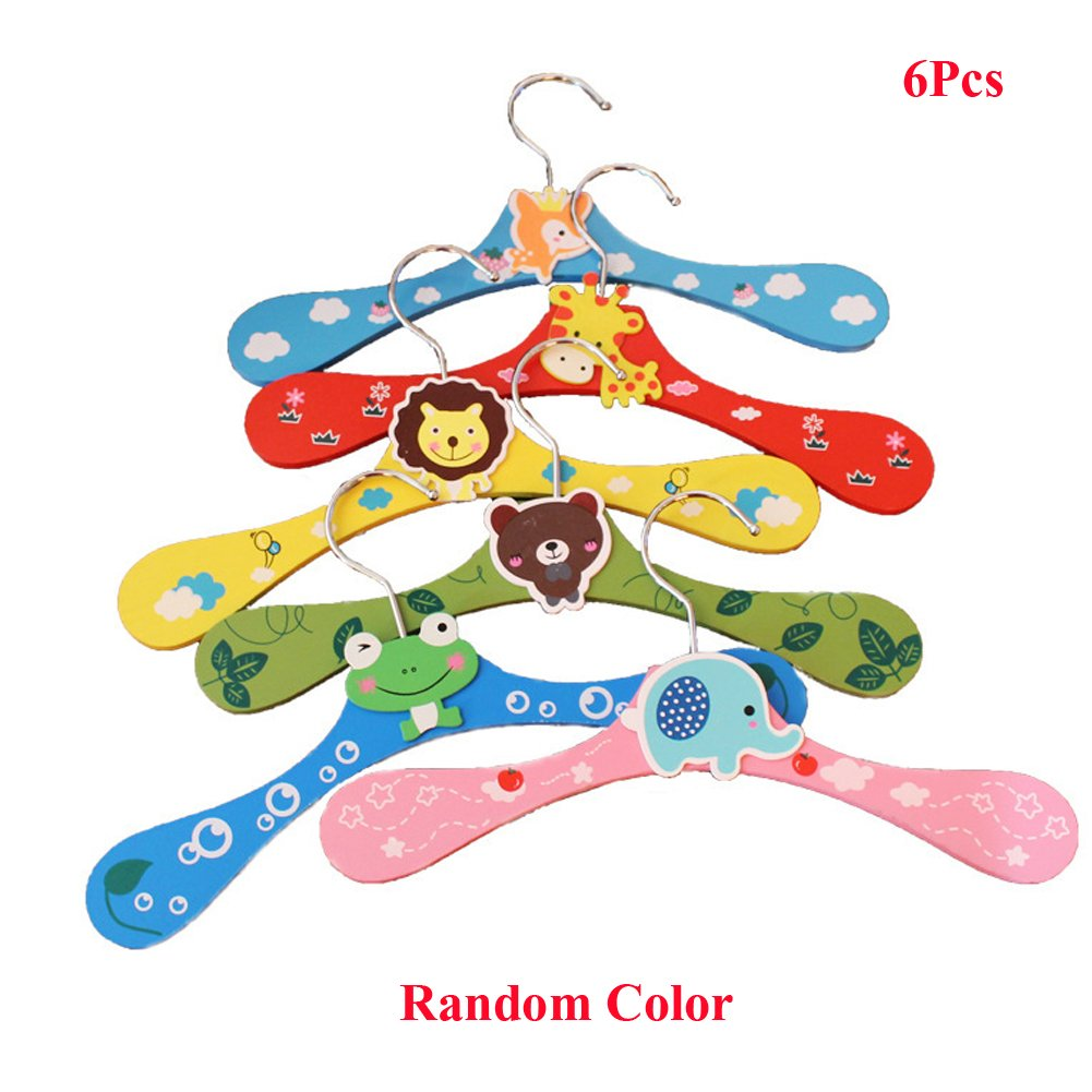 Lzttyee 6Pcs Children Cute Cartoon Animal Wooden Clothes Hangers Coats Pants Hook Hanger Rack Stands Random Color