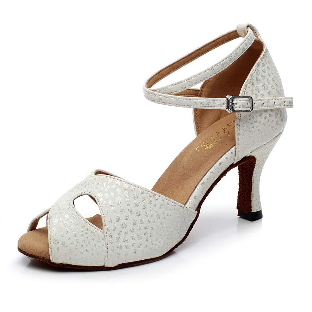 XIAOY Chaussures de Danse Pour Dames Latine En Cuir Milieu Haute Talon Lanière Cheville Boucle argent6cm 36UK4