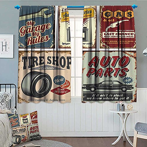 - GugeABC 1950s Decor Collection Thermal/Room Darkening Window Curtains Vintage Car Metal Signs Automobile Advertising Repair Vehicle Garage Servicing Image Decor Curtains by 72