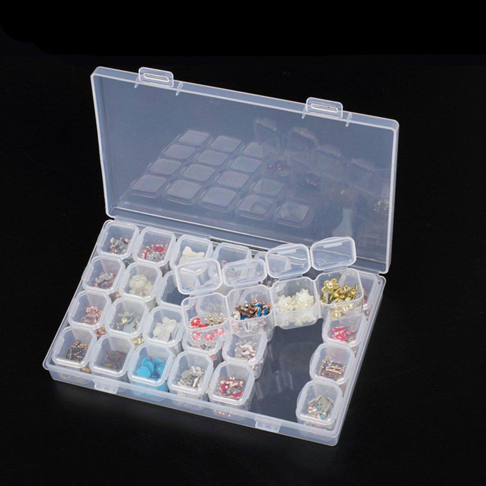 Yamalans Clear Plastic 28 Slots Nail Art Tools Jewelry Display Storage Box Case Organizer