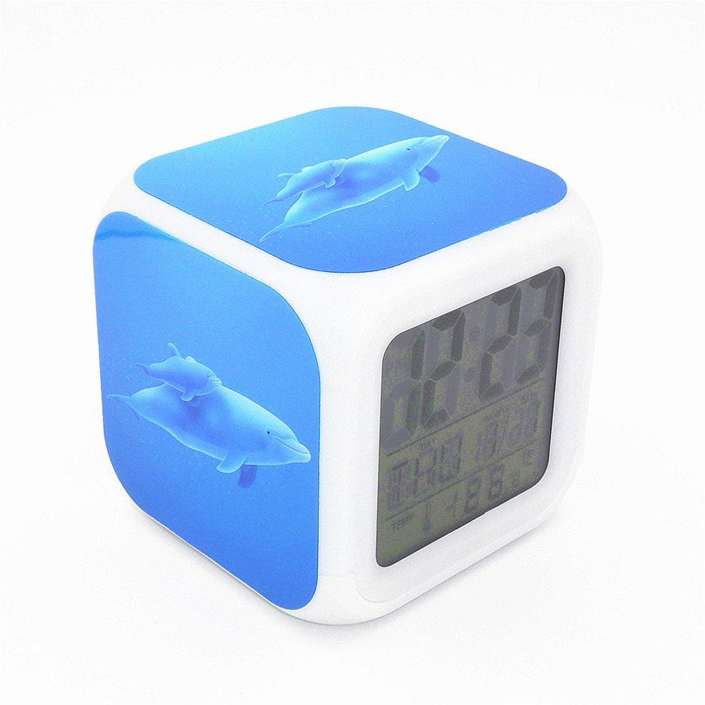Boyan New Dolphin Blue Ocean Animal Led Alarm Clock Creative Desk Table Clock Multipurpose Calendar Snooze Glowing Led Digital Alarm Clock for Unisex Adults Kids Toy Gift