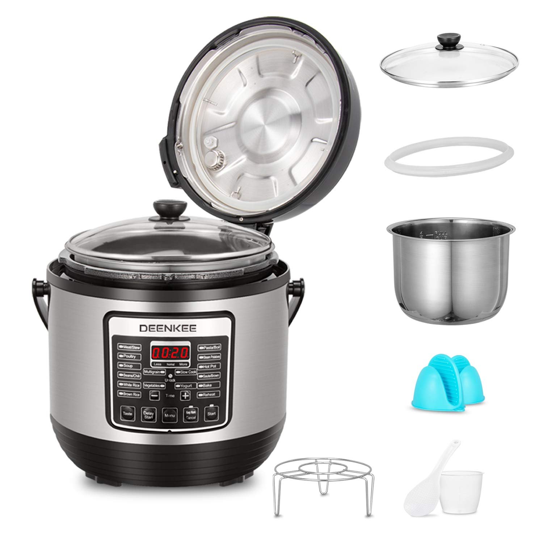 DEENKEE 6 Quart Multi Pot Pressure Cooker 10-in-1 Instant Programmable, Slow Cook, Saute, Egg, Rice Cooker, Yogurt, Steamer, Hot Pot Stainless Accessory Kit