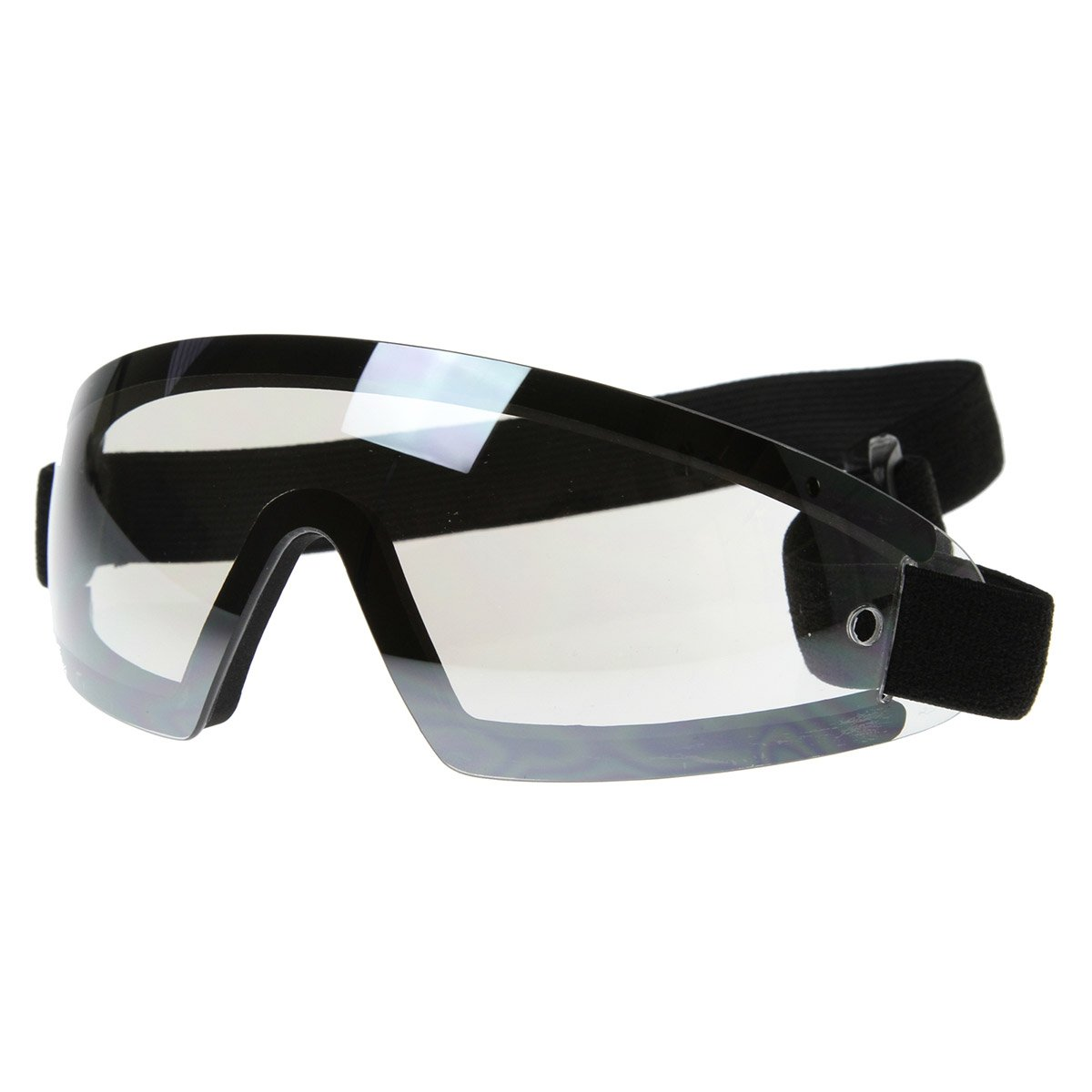 Frameless Protective Eyewear UV400 | Sports Shield Goggles with Adjustable Strap (Black Clear)
