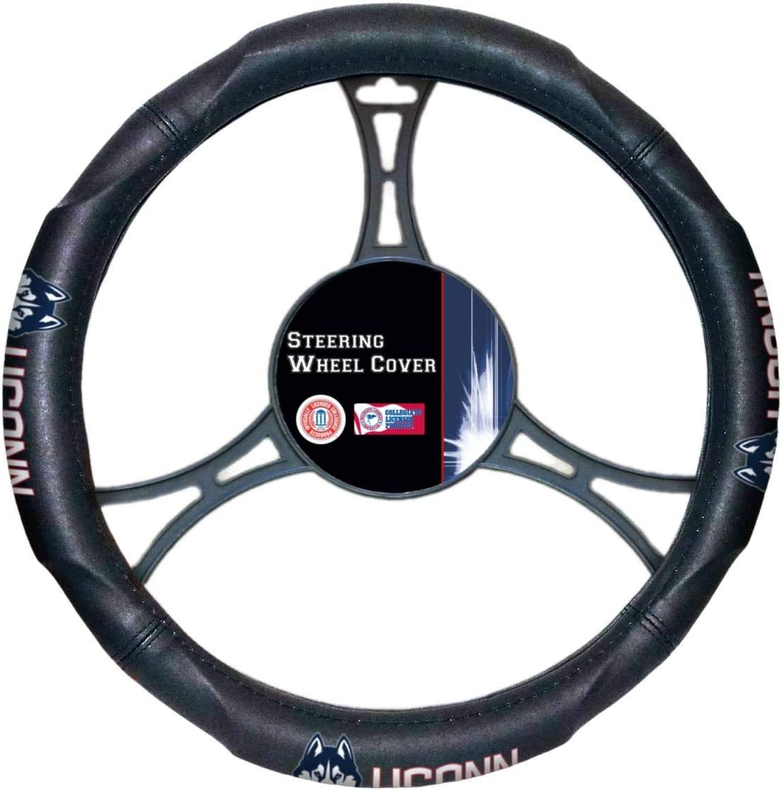 """Officially Licensed NCAA Steering Wheel Cover Black 14.5/""""-15.5/"""""""