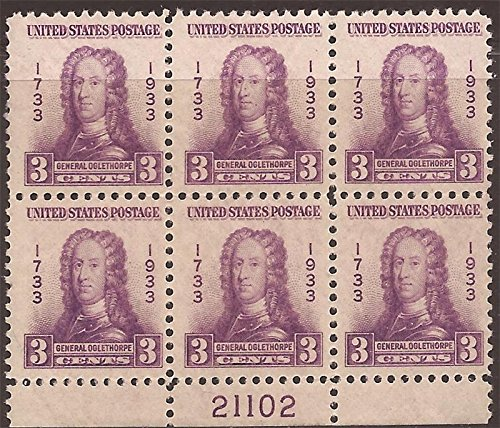 US Stamp - 1933 Georgia Bicentennial - Plate Block of 6 Stamps MNH #726
