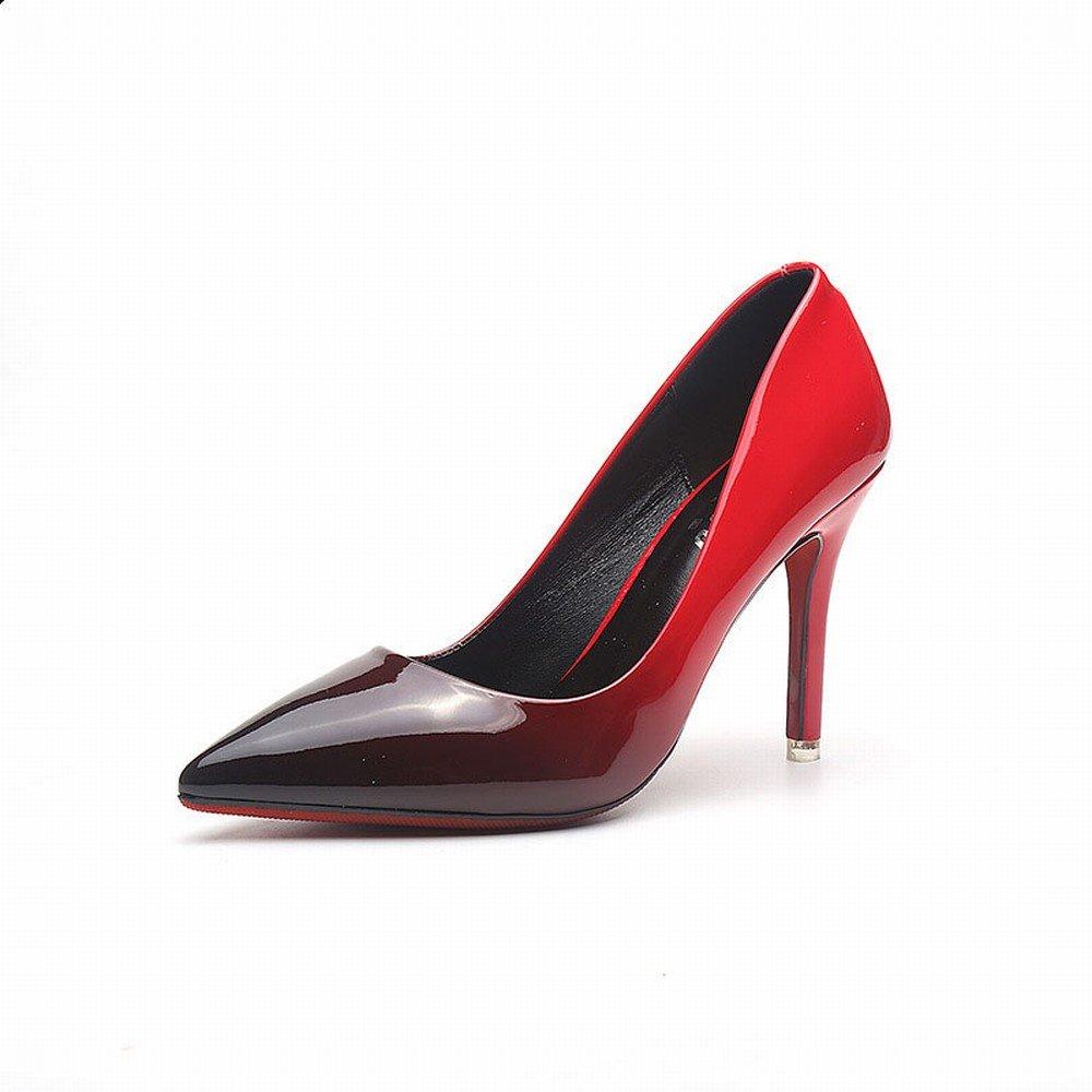 CXY Spring-Western Spitzen Spitzen Spitzen Spitzen Flachen High Heels Mode Farbe Lackleder Dünn mit Wilden Trendy Schuhe A mit Hohem 9.5CM 38 e9985f