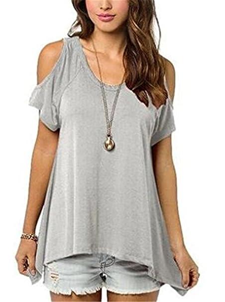 YOGLY Camisetas Mujer Verano Blusas T Shirt Cmisetas con Mangas Cortas de Color Sólido Ocasional Camisa
