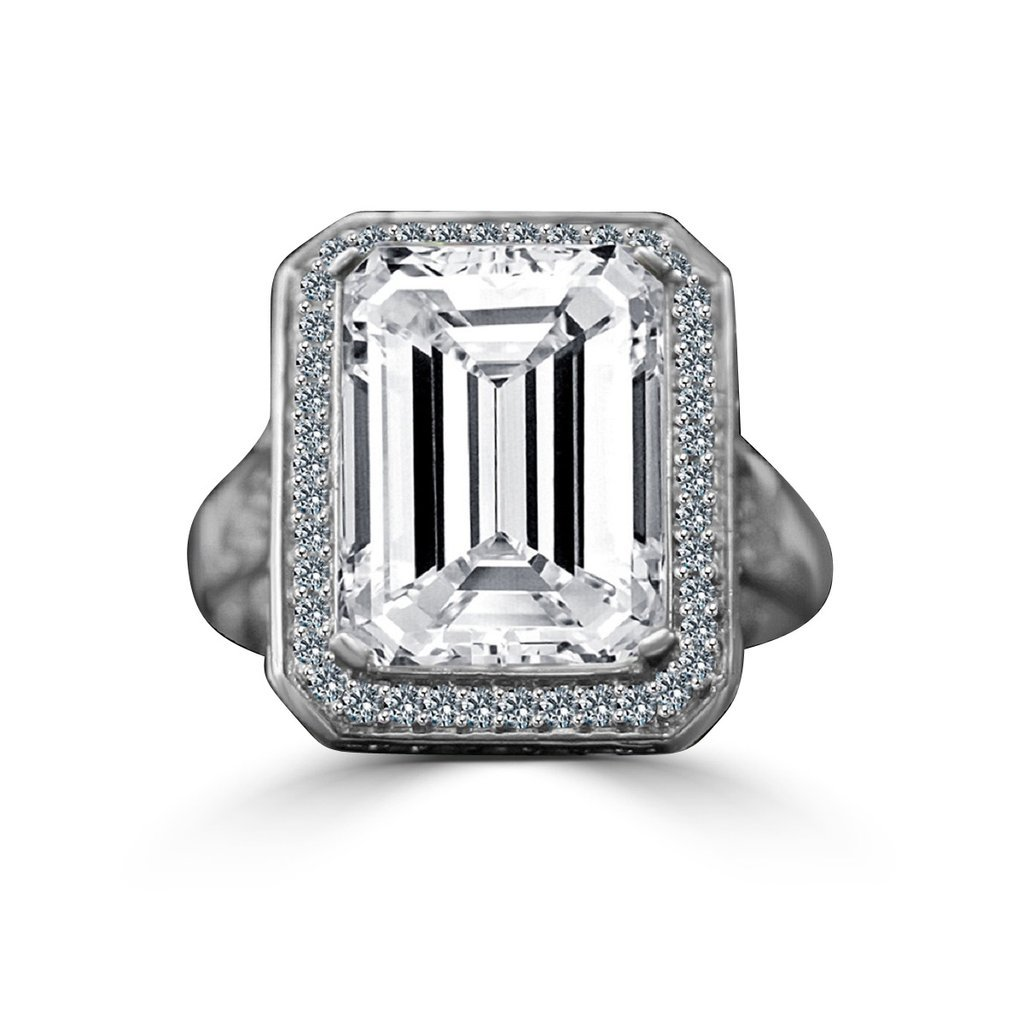 Diamond Veneer - 12 CT. Emerald Cut Important Vintage Micro Pave Halo Vintage Cocktail Engagement Ring (Clear, 5)