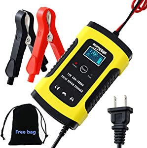 Car Automatic Battery Charger Maintainer 6A 12V Motorcycle Charger Full Intelligent for Car, Motorcycle, Lawn Mower, Boat, RV, SUV, ATV and More