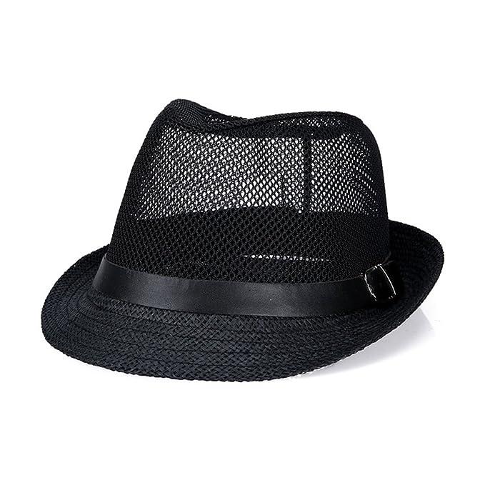 885796b27c467f JOOWEN Classic Short Brim Straw with Black Band Fedora Hat Caps (Black-M)