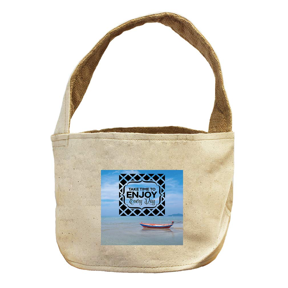 Take Time to Enjoy Every Day with Bot in Sea Canvas and Burlap Storage Basket