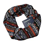 Rust and Black Tribal Infinity Scarf with Zippered Secret Pocket