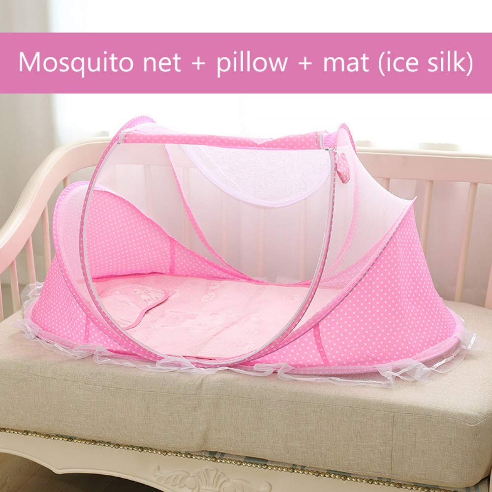 TYZNB Baby Mosquito net Summer Mosquito Folding Portable Free Installation Child Mosquito net Bed Full Cover 2019 New, Pink, Three-Piece (ice Silk)
