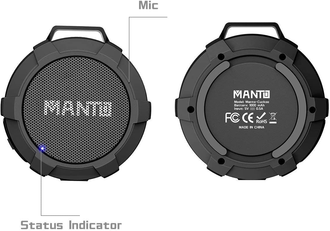 Cycling Camping Bluetooth Speaker MANTO Cuckoo Portable Wireless Mini Waterproof Stereo Sound System for Shower Outdoor Hiking Grey