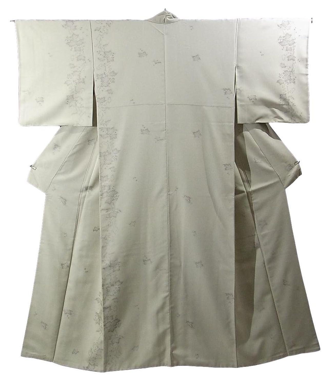 リサイクル 着物 お召 縞とブドウの模様 裄66.5cm 身丈161cm 正絹 袷 B07FD3ZQW8  -