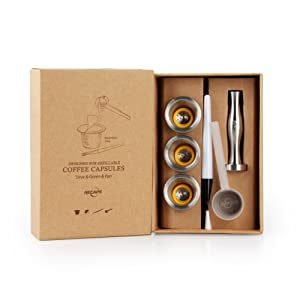 RECAPS Stainless Steel Refillable Capsules Reusable Pods Compatible with Most Nespresso Original Line Machine But Not All (3 Pods+120 Lids+1 Tamper)