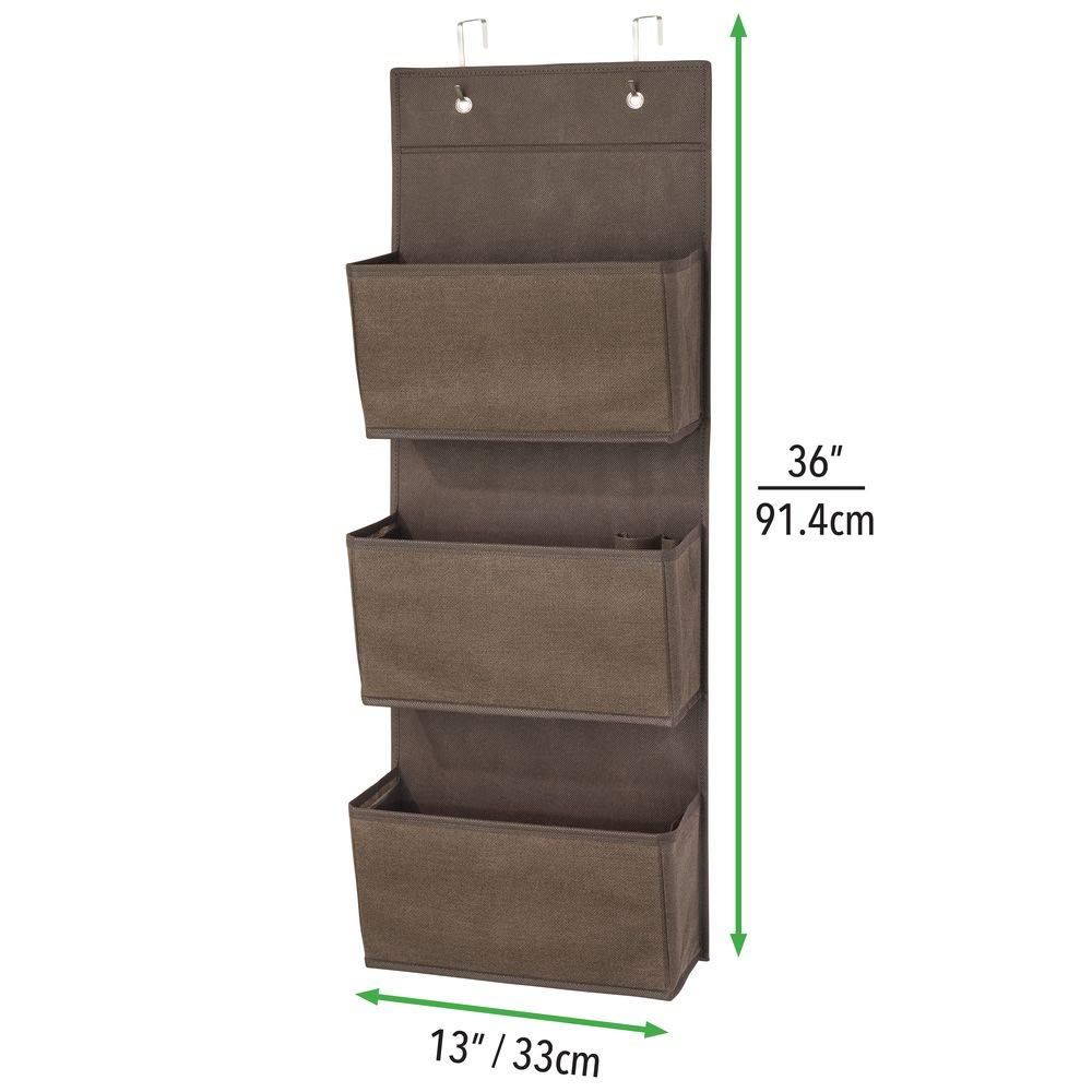 Hallway Textured Print Hooks Included Espresso//Brown MetroDecor 02001MDCO Entryway mDesign Soft Fabric Over The Door Hanging Storage Organizer with 3 Large Pockets for Closets in Bedrooms Mudroom
