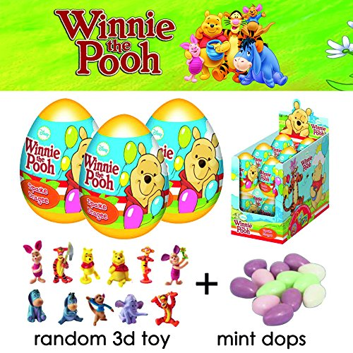 WINNIE THE POOH FIGURE SET OF 3 Super Surprise DISNEY Winnie The Pooh Toys Eggs 3D Surprise Toys- stuffed animal-winnie the pooh figurines- Surprise egg for boy and girl-winnie friends -