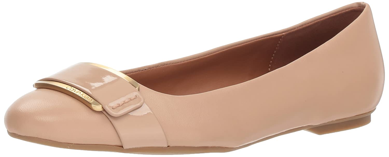 Calvin Klein Women's Oneta Ballet Flat B07CJ47398 9 B(M) US|Desert Sand