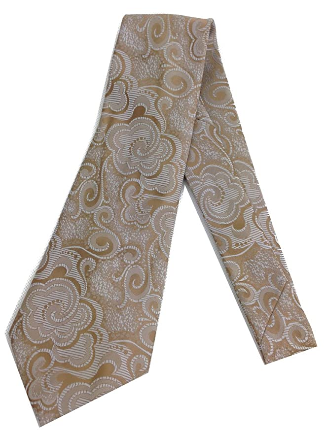 New 1940s Men's Ties, Neckties, Pocket Squares Art Deco Beige Necktie - Vintage Jacquard Weave Wide Kipper Tie 1970s $19.99 AT vintagedancer.com