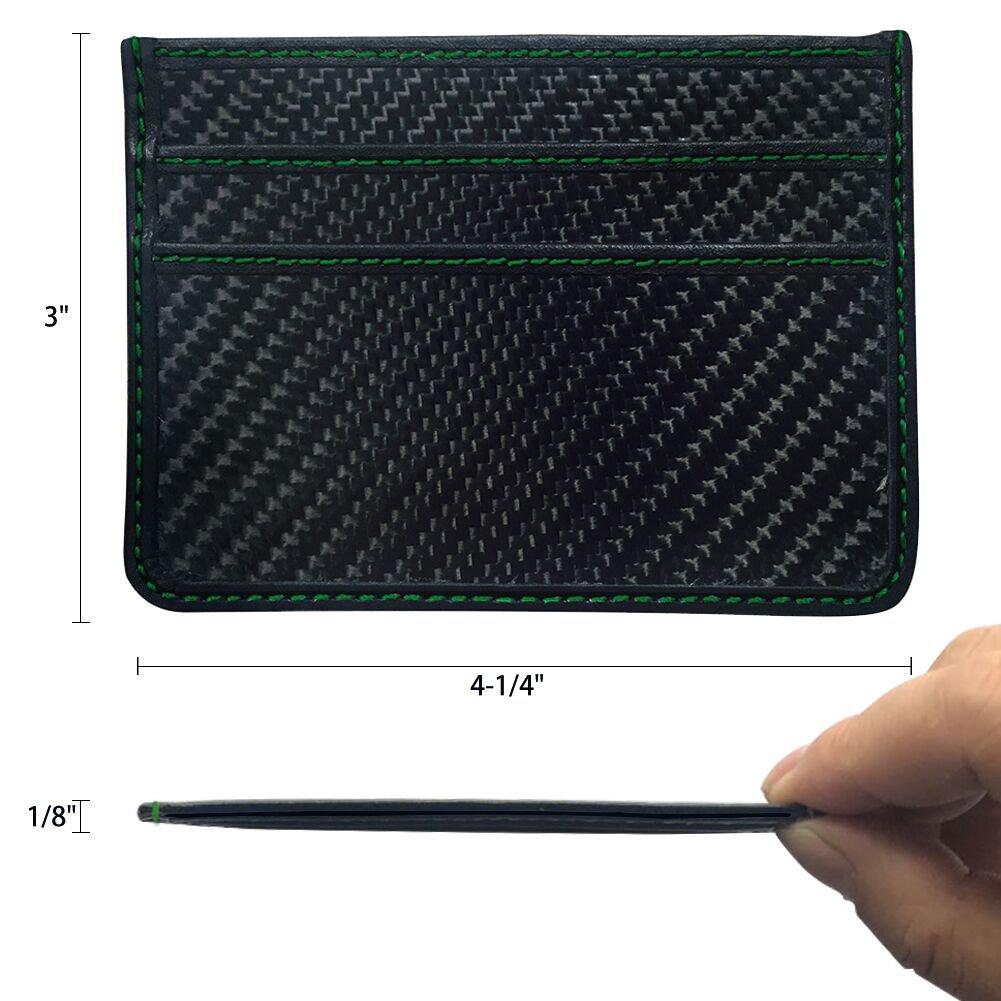 RFID Blocking MGCFTan Money Clip Glossy Carbon Fiber wallet Credit Card Business Card Holder 3K twill Green