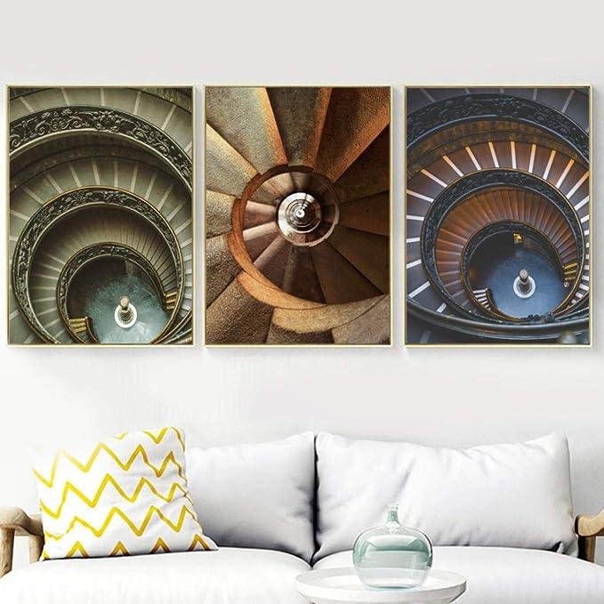 Escalera de caracol Edificio Paisaje Lienzo Pintura oficina Arte de la pared Carteles e impresiones, Sala de estar Decoración para el hogar Cuadros de la pared 50X70cmx3 sin marco: Amazon.es: Bricolaje y