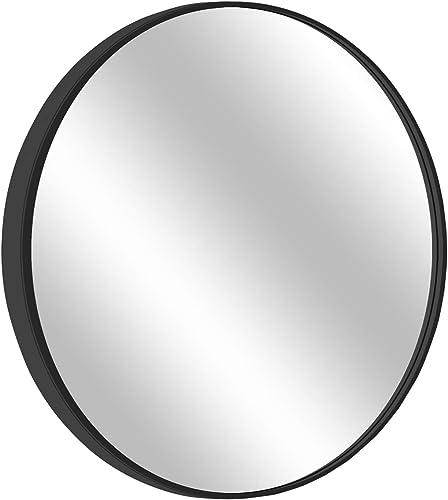 MORIGEM Round Mirror, 31.5 Wall Mirror, Wall-Mounted Mirror for Bedroom, Bathroom, Living Room Entryway, 1.4 Metal Frame Vanity Mirror, Black