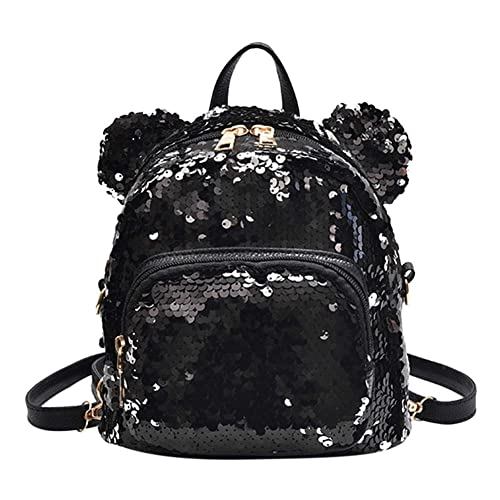b5f9a05559ec Tomtopp Shining Sequin Backpack Women Bear Ears Mini Girl Shoulder Travel  Bag Black