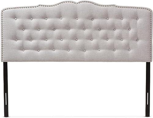 Baxton Studio Lucy Modern and Contemporary Greyish Beige Fabric King Size Headboard