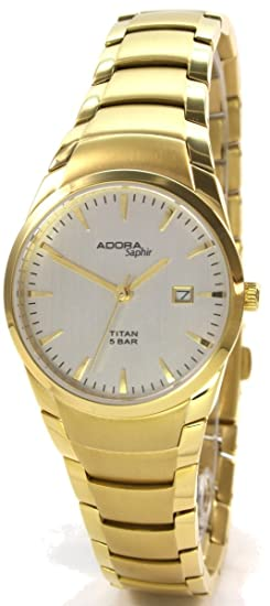 Adora Saphir 60103.4 Go Titanio Mujer Reloj Metal banda Cristal de zafiro oro ionenplattiert: Amazon.es: Relojes