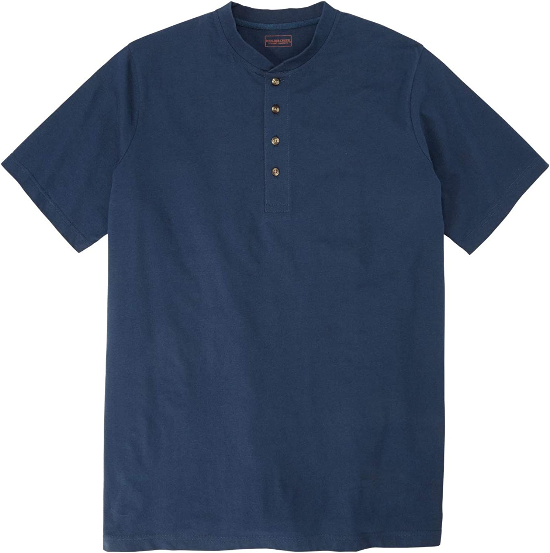 Boulder Creek Mens Big /& Tall Heavyweight Longer-Length Short-Sleeve Henley Shirt
