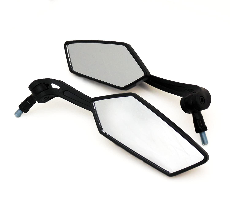 Universal Fit Adjustable Mirror Set - 10mm RH/RH Thread - Flat Black - Motorcycle Scooter (4238_10) MMG
