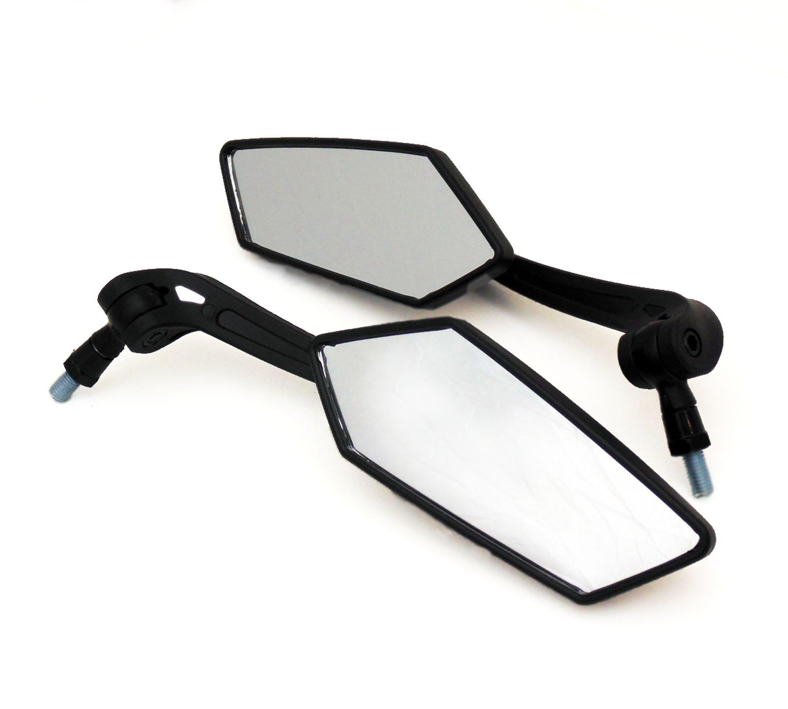 Universal Fit Adjustable Mirror Set - 8mm RH/RH Thread - Flat Black - Motorcycle Scooter (4238)